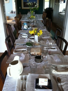Our seder table / Photo by Ilana DeBare
