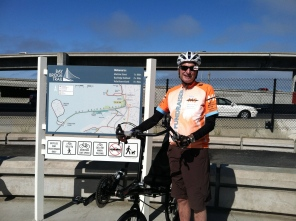 Sam at the start of the Bay Bridge bike trail in Emeryville / Photo by Ilana DeBare
