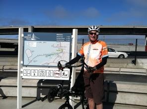 Sam at the start of the Bay Bridge bike trail in Emeryville / Photo by Ilana DeBare
