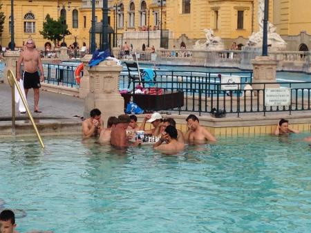 Sam's photo of men playing chess in the Szechenyi thermal baths in Budapest