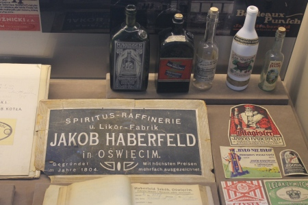 Jakob Haberfeld distillery items in the Auschwitz Jewish Museum/ Photo by Ilana DeBare