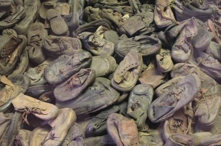 Children's shoes in Auschwitz display case / Photo by Ilana DeBare