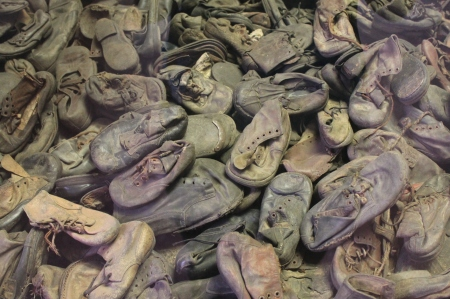 Children's shoes in Auschwitz display case / Photo by Ilana DeBare