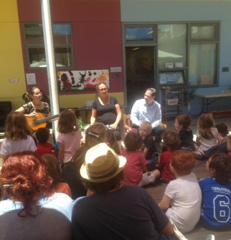 Rabbi Regev (right) leads a program for the Temple Sinai preschool / Photo courtesy of Temple Sinai